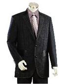 SKU#DV2425 Men's 2 Buttons Suits Midnight Blue Denim Blue Fabric