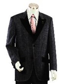 Men's Two Buttons Style comes in Black Trimmed Two Tone Blazer/Suit/Tuxedo $199