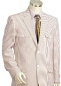 Mens 2pc 100% Cotton Seersucker Suits brownoffwhite $175