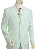 SKU#WQ2145 Mens 2pc 100% Cotton Seersucker Suits Green Color whitelime mint