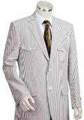SKU#KJ2541 Mens 2pc 100% Cotton Seersucker Suits Grayoffwhite