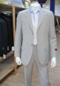 SKU# 24 Men's Lightest Tan ~ Beige 2 Button Super Wool Feel Rayon Viscose Dress Suit (LIGHT GRAY)