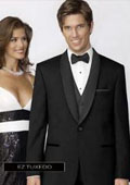 SKU#GD4947 Fitted Slim Fitc Cut Traditional Tuxedo Black