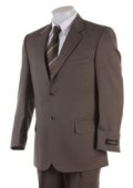 SKU# 472 Men's 2 Button English Brown Super Wool Business Suit $129
