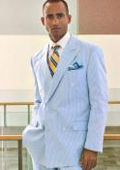 Seersucker Double-Breasted Suit Jacket Separate $165