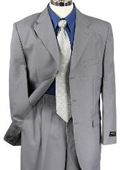 Mens Gray Single Breasted Dress 3 Button notch collar cheap discounted Suit $79