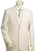 Mens 3pc 100% Cotton Seersucker Suits Taupe $175