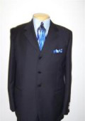 SKU 49 Navy Blue 4 Buttons Wool Mens Suit 99