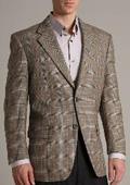SKU#IK1868 Blazer Coat Richard Harris Two Buttoned Brown Super 100 Wool Jacket $149