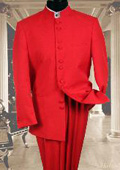 SKU#EW9911 Solid Color Red Mandarin Collar 2PC Mens Suit $175