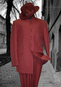Solid Color Burgundy ~ Maroon ~ Wine Color Mandarin Collar 2PC Mens Suit $109