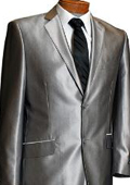 Gianni Uomo Mens 2 Button Silver Slim Fit Shark Skin Suit $169