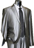 Shiny 2 Button Silver Grey ~ Gray Flashy Sharkskin Mens Suit