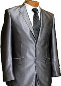Mens 2 Button Charcoal Grey Slim Fitted Shiny Flashy Shark Skin Suit