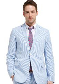 SKU#KX3421 Seasons Hottest Suit, 2 Buttoned Seersucker Suit Abailable in Mens and Boys Size