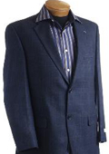 SKU#LZ3900 Mens Navy Designer Classic Window Pane Sports Jacket $149