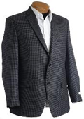 SKU#DR1144 Mens Designer Navy Tweed Houndstooth Sports Jacket $149