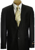 Men's Black Pinstripe 2 Button affordable suit online sale $89