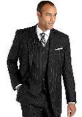 Black Pinstripe Vested Suit
