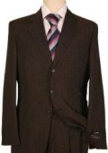 Men's Dark Brown Pinstripe 3 Buttons Super 100's Wool $275