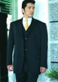 Power Black Pinstripe Super 120's Wool Feel Extra Fine Poly~Rayon $149