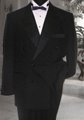 Double Breasted Mens Black Tuxedo Super 150's French Cut 6 on 2 Button Closer Style Jack $189