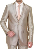 Beige Shiny sharkskin Single Breasted Mens Suit Side-Vented Mocca-Bronze-Sand-Taupe Khaki Champagne