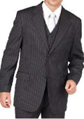 Mens Black Pinstripe 2 Button Vested 3 Piece three piece suit - Jacket + Pants + Vest $119