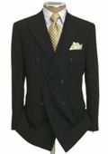 Mens Double Breasted Suit Jacket + Pleated Pants Super 140's 100% Wool Solid Black $189