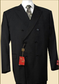 Mens Double Breasted Suit Jacket + Pleated Pants Super 140's 100% Wool Solid Black $169