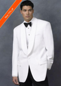 Men's Dinner Jacket in White Shawl Collar 1 Button + Free Bowtie $139