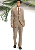 Mens Two Button Slim Cut Fitted Light Tan ~ Beige Suit $139