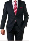 Mens Two Button Black Pinstripe Suit $119