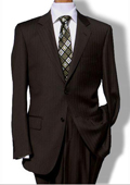 Mens Two Button Brown Pinstripe Suit $139