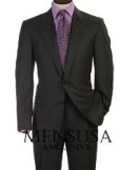 SKU MU2B  Beautiful Signature Classic Mens 2 Button Charcoal Gray  Tin Pinstripe Business Suits