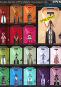 Mens Basic Dress shirt With Tie & Hanky Available in 34 Colors