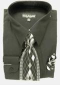 Mens Black Dress Shirt Tie Set