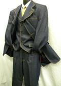SKU#PL1939 Mens New Three Piece Blue Denim Fashion Suit
