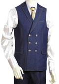 SKU#AB3322 Mens 2pc Blue Denim Vest Sets