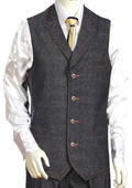 2pc Black Denim Vest
