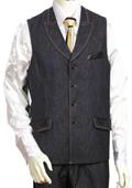 SKU#QK1920 Mens Black 2pc Denim Vest Sets