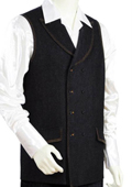 Mens 2pc Denim Vest Sets - Black $125
