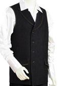 SKU#QW9023 Mens 2pc Denim Vest Sets - Black