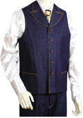 Mens 2pc Denim Vest Sets in Blue $125
