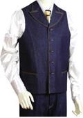 SKU#HT2457 Mens 2pc Denim Vest Sets in Blue