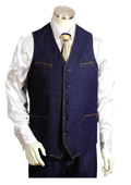 SKU#VD0212 Mens 2pc Blue Denim Vest Sets With Urban Styled Jeans