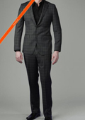Tapered Leg Lower rise Pants & Get skinny 2-Button Charcoal Ticking Glen Plaid Slim Suit $165