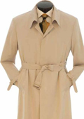 EMIL_CT05 Mens Full Length Trench Rain Coat In Khaki ~ Tan ~ Taupe $175