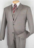 Men's 2-Button Vested Glen Plaid three piece suit - Grey $159