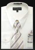 SKU#KN7289 Men's Dress Shirt - PREMIUM TIE - Ivory
